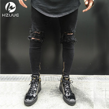 ankle zipper design Hi Street Mens Black Ripped Jeans Men Fashion Male Distressed Skinny Jeans Destroyed Denim Jeans Trousers