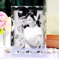 XINTOU Crystal Picture Frame Sweet wedding Decoration Photo Frames With Stand Family Travel photos Laser engraving Glass Album