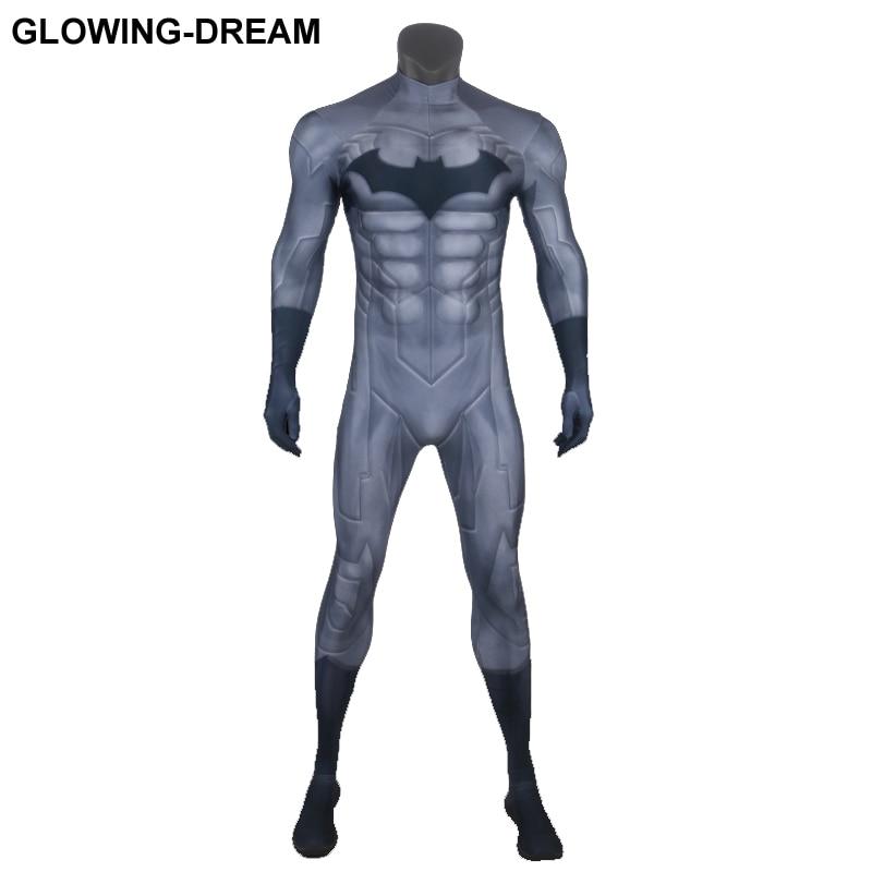 Высокое качество мышечной обивка Бэтмен Косплэй костюм с U молнии для человека 3D мышцы тени Бэтмен Зентаи Костюм Для Хэллоуина