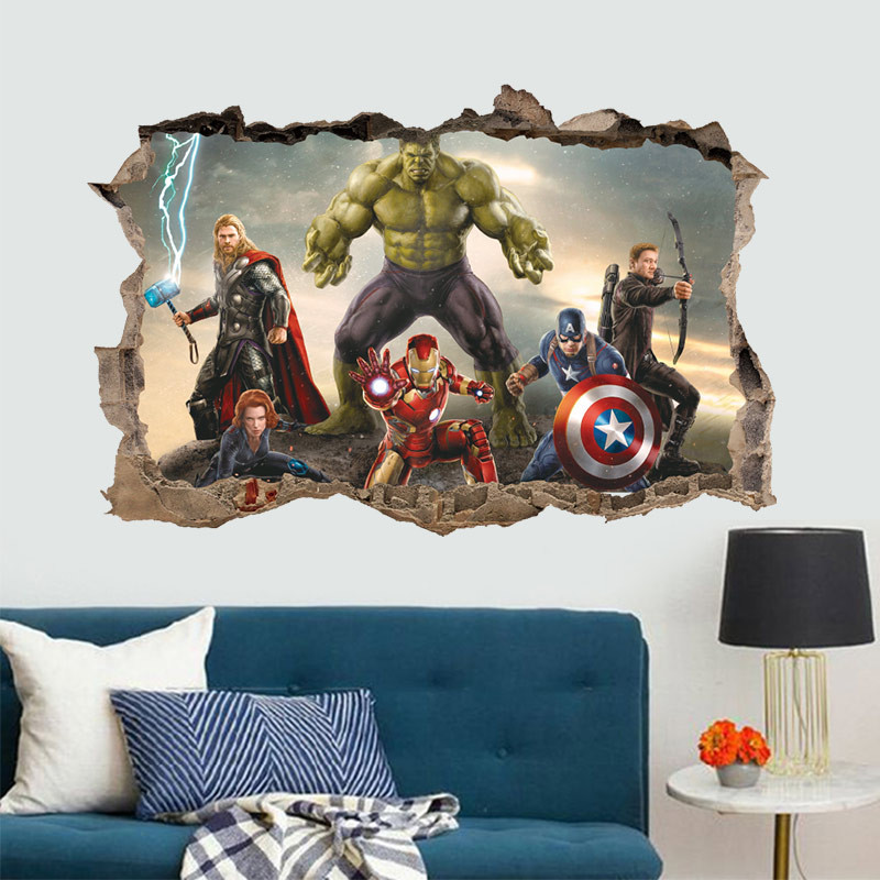 Super Hero 3d Broken Hole Wall Stickers For Kids Room Home Decoration Cartoon Movie Mural Art Pvc Wall Decals Pvc Posters in Wall Stickers from Home Garden