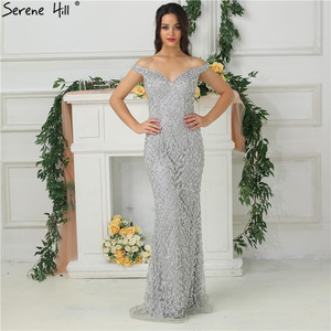 Image 3 - Silver Luxury Sexy Mermaid Evening Dresses 2020 Diamond  Beading Off Shoulder Evening Gowns Real Photo LA6406