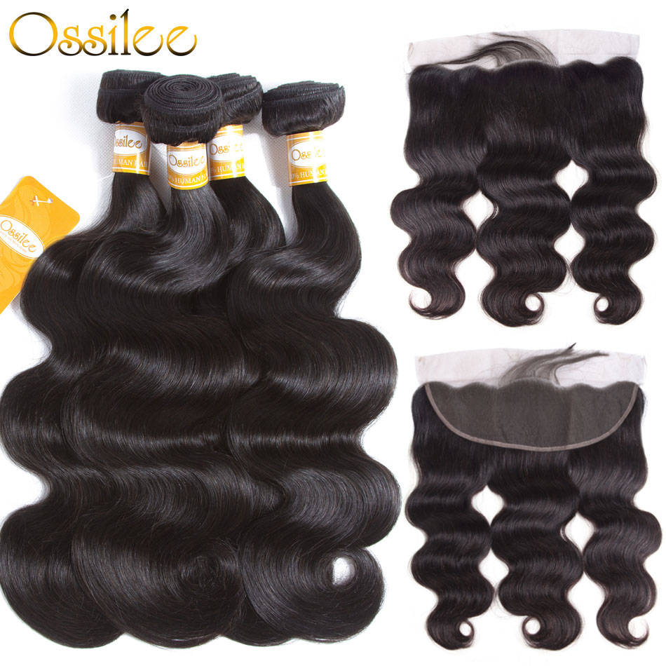 Ossilee Brazilian Body Wave Bundles with Closure Lace Frontal Closure with Bundles NonRemy Human Hair Bundles with Frontal