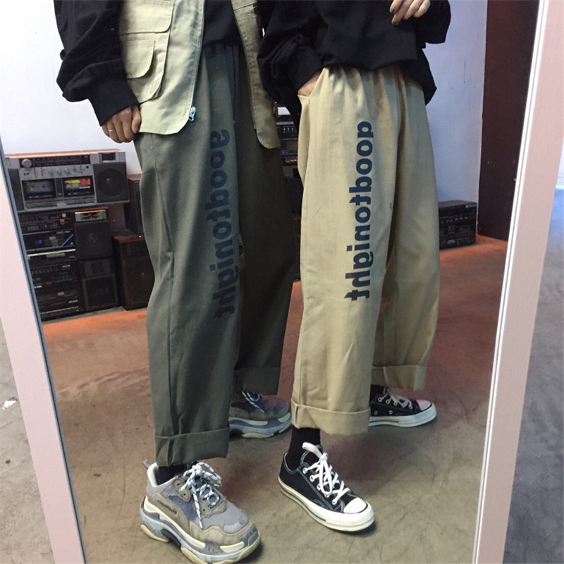 Boys&girls Harajuku Loose   Wide     Leg     Pants   Punk Hip Pop Couple   Pants   Trousers Fashion Letter Printed Casual Loose Street   Pants