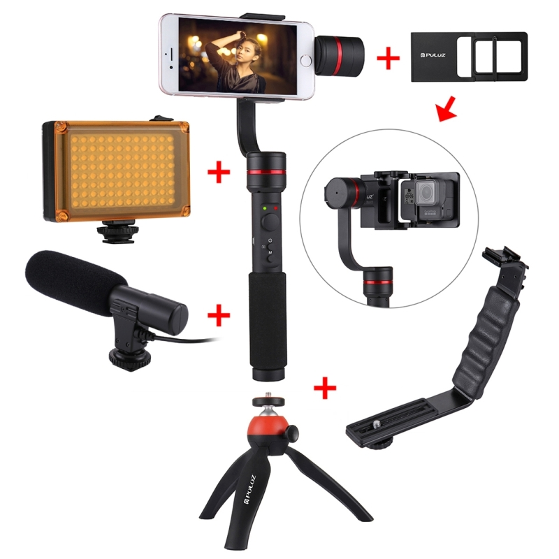 PULUZ 3-axis Handheld Gimbal Stabilizer for Smartphone with Clamp Mount and Tripod Holder+ L-Shape + LED Studio Light+Microphone yuneec q500 typhoon quadcopter handheld cgo steadygrip gimbal