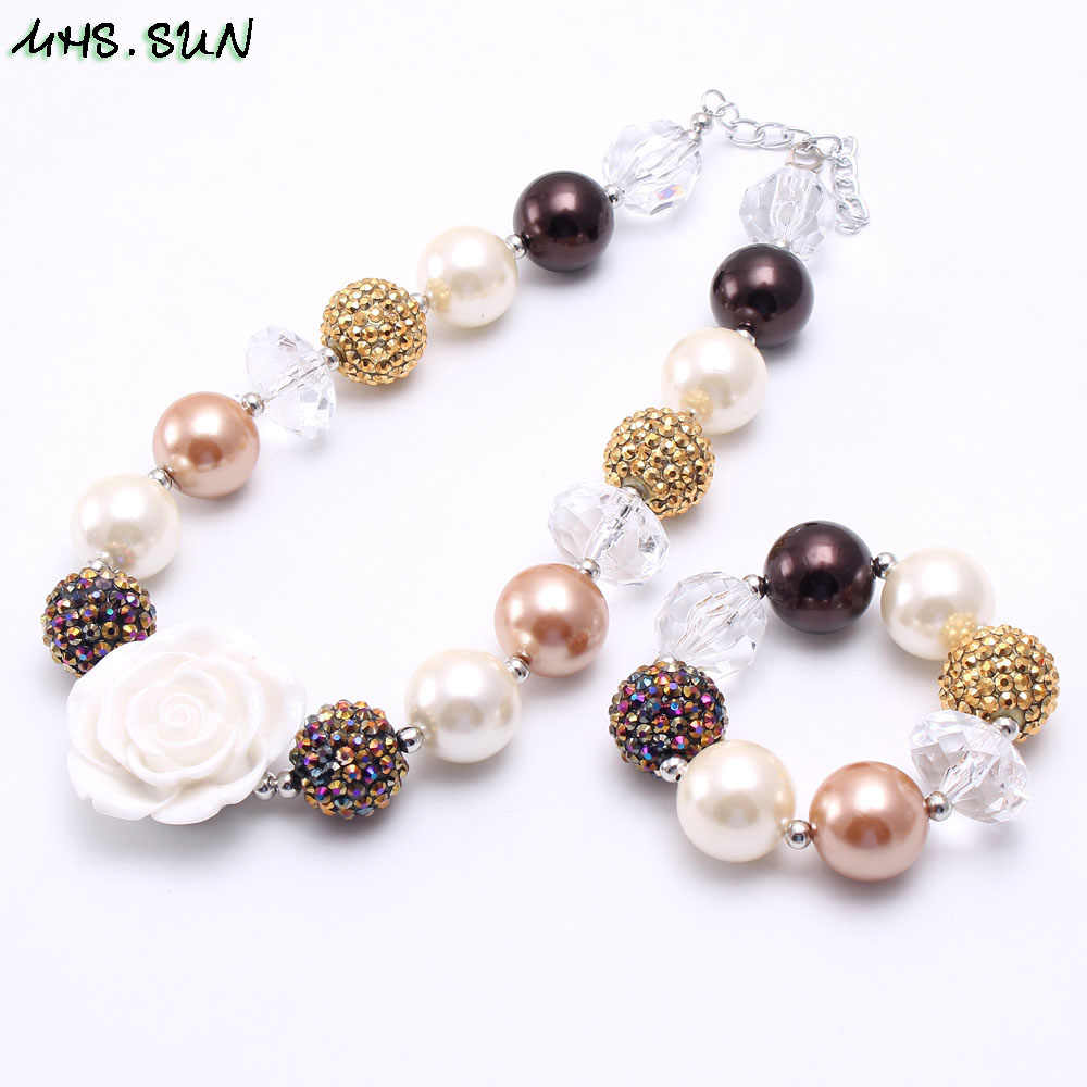 MHS.SUN Chunky Beads Necklace Bracelet Child Girls Kids Fashion Acrylic Pearl Beads Necklace Rose Flower Jewelry Accessories