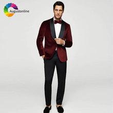Custom Made Burgundy Men Suits for Wedding Pants Shawl Lapel Best Man Blazers Jacket 2Piece Slim Fit Groom Tuxedo