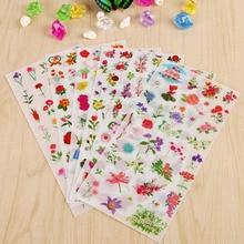 6 фолхес/Лот Новые цветы море ПВХ наклейки карманный дневник декоративные прозрачные наклейки Diy Детские канцелярские наклейки