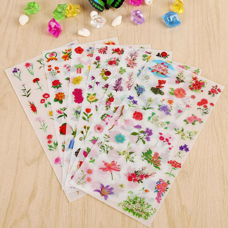 6 Folhas/Lote New Flower Sea Pvc Stickers Pocket Diary Decorative Transparent Stickers Diy Children Stationery Stickers