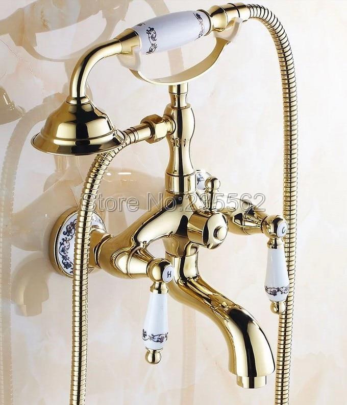 Golden Brass Porcelain Base Wall Mounted Bathroom Tub Shower Faucet Set Dual Ceramic Handle Mixer Tap + Handheld Shower ltf410 micoe brass thermostatic water rainfall shower set faucet tub mixer tap handheld shower wall mounted bathroom m a1014 1d