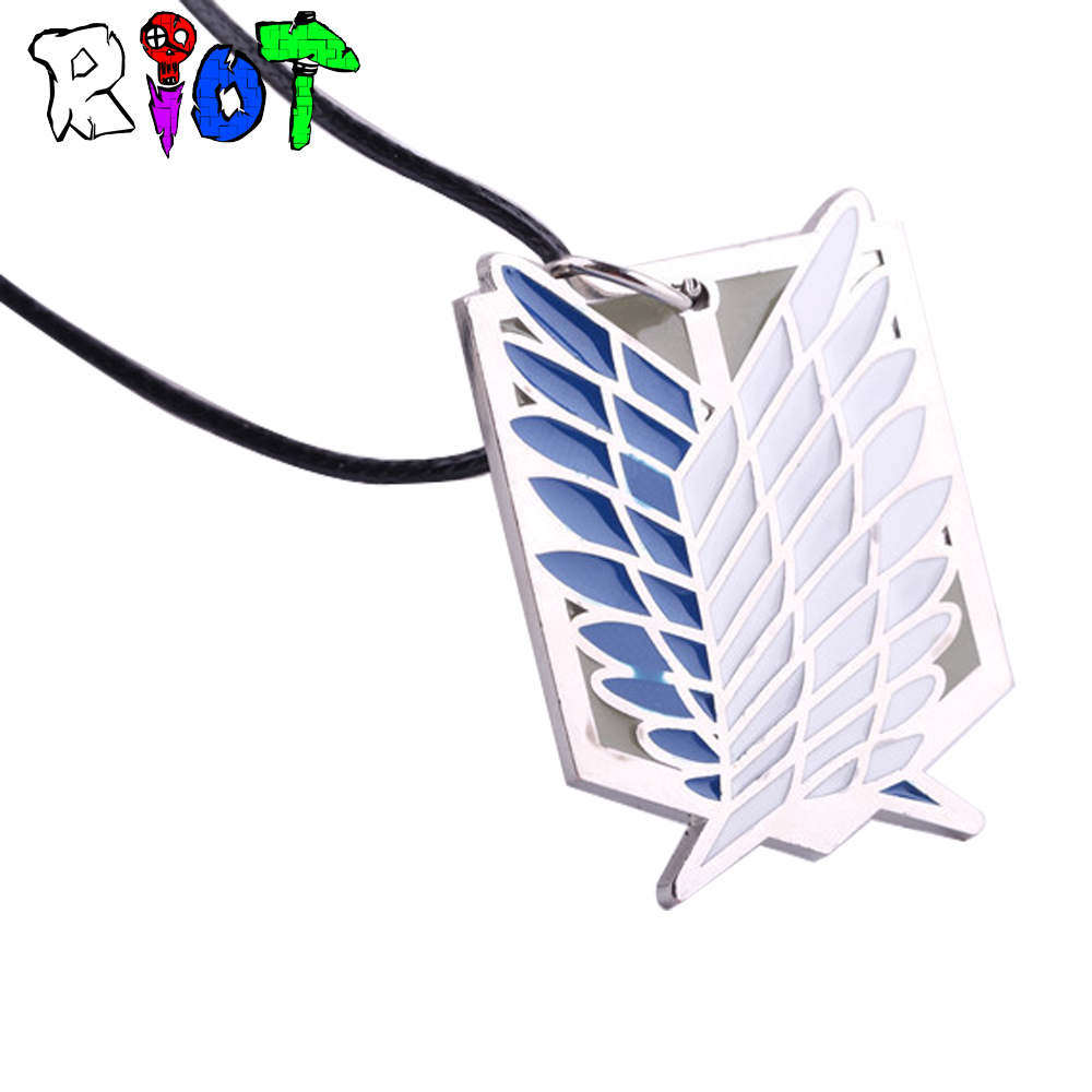 Anime Attack on Titan Wings of Freedom Choker Necklace Wings Of Liberty Logo Alloy Pendant Unisex Leather Chain Fashion Jewelry