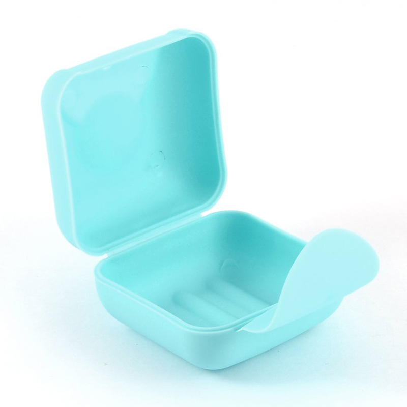Plastic Travel Hiking Mini Soap Dish Box Holder Case Container Blue