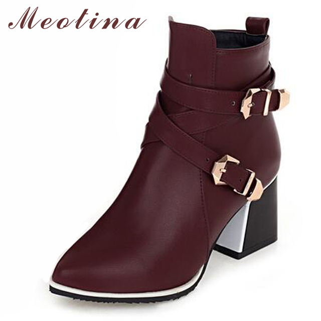 Meotina Winter Ankle Boots Women Boots Square High Heels Zip Buckle Women Short Boots Autumn Ladies Shoes Red Big Size 34-43
