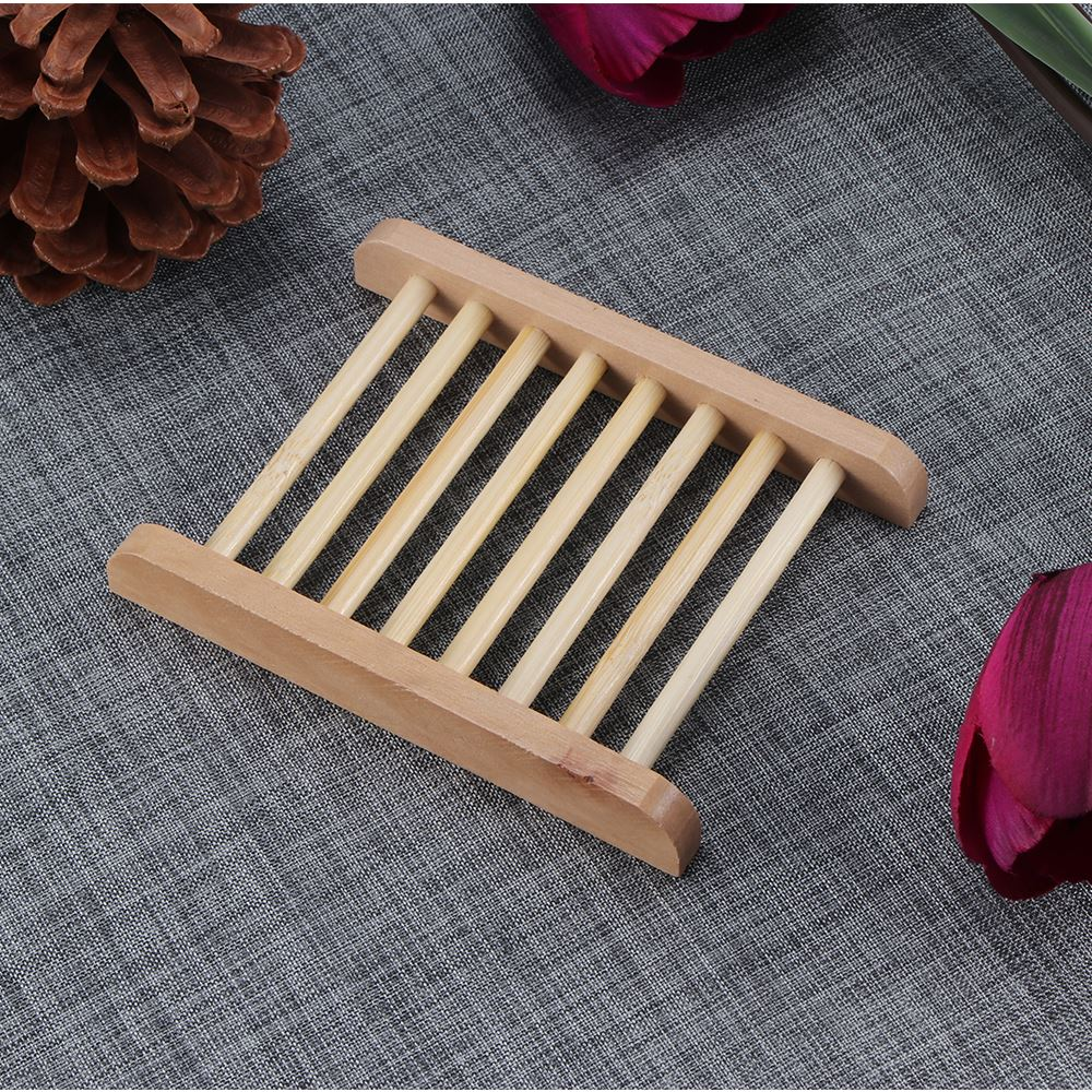 2019 Wooden Natural Bamboo Soap Dish Tray Holder Storage Soap Rack Plate Box For Bath Shower Plate Bathroom