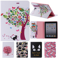 For IPad 2 3 4 Cute Cartoon With Card Slot Stand Flip PU Leather Coque Case