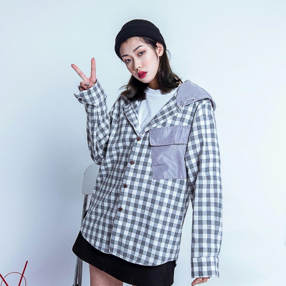 Women's Clothing Enthusiastic Chaobai Original Bf Vintage Plaid Stitching Cap Shirt Oversize Lazy Loose Shirts Strengthening Sinews And Bones