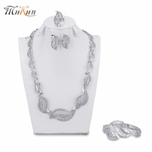 MUKUN Quality silver Plated Bridal Jewelry Sets For Women Trendy Rhinestone Necklace Bracelet Earrings Ring Africa Jewelry Set цена