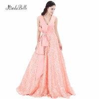 Modabelle с низким вырезом на спине сексуальные платья для выступлений арабского розовый коралл Длинные вечерние платья 2017 халат De Soiree кружево