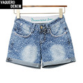 Free Shipping Womens High Waisted Printed Denim Shorts Women Female Feminino Real Sort Size S-2XL 13220