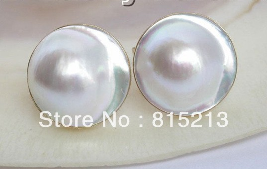 HOT SELL - Stunning 19mm white South Sea Mabe Pearl Earrings -Top quality free shipping
