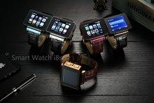 Original I8S Quadband Telefone Do Relógio Inteligente com Metal Case Leather Strap Suppt SIM Card WiFi Jogos 2MP Webcam FM GPRS rádio MP3 MP4