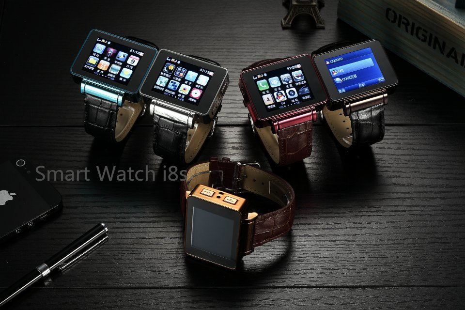 Original Quadband I8S Smart Watch Phone with Metal Case Leather Strap Suppt SIM Card WiFi Games 2MP Webcam GPRS FM radio MP3 MP4
