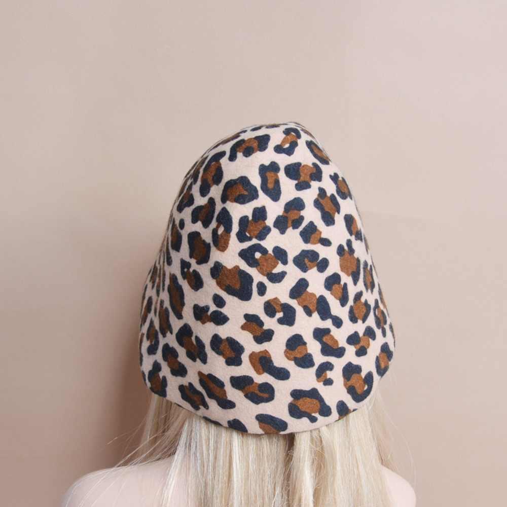 d10991059f2 ... B088 Leopard Felt Wool Cone Cloche Hood Millinery Hats Fascinators Block  Base ...