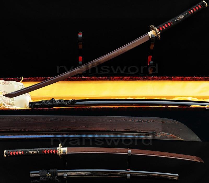HANDMADE RED FOLDED STEEL BLADE JAPANESE SAMURAI KATANA SWORD