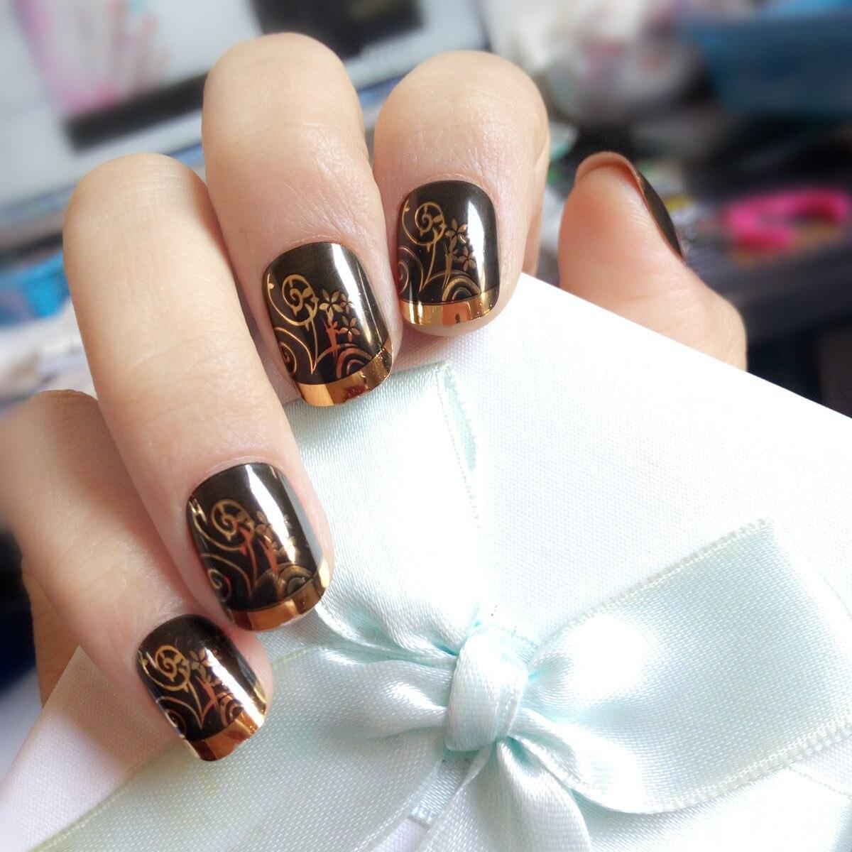 Metallic Gold Schwarz Französisch Nagel Shiny Falsche Nägel DIY ...