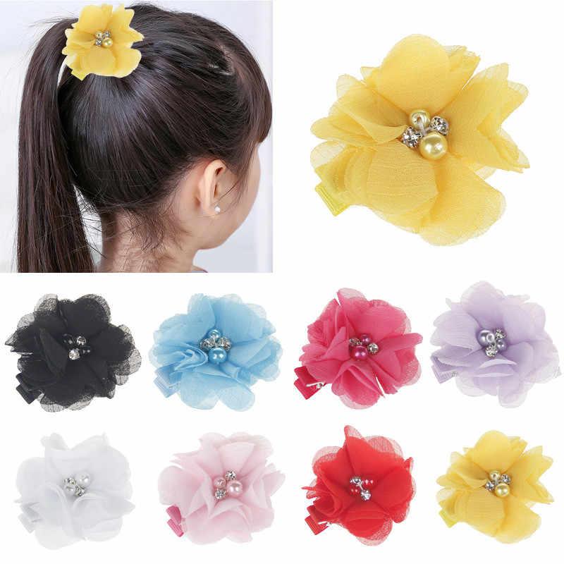 Venta caliente linda flor perla cinta Grosgrain arcos Clips de horquilla de pelo Boutique HairClip Headware niños bebé Accesorios