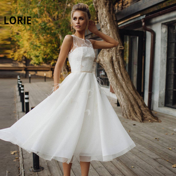 LORIE New Tea-Length Short wedding Dresses Lace Appliques Bride Dress Tulle with  Feathers Wedding Gowns Custom vestido de noiva 2019 white ivory short v neck wedding dresses 2019 tulle appliques lace robe de marie knee length elegant vestido de noiva gowns