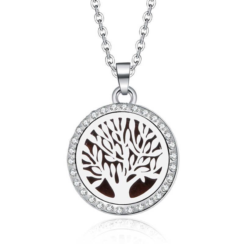 รูปแบบ tree Aroma Diffuser สร้อยคอสแตนเลสจี้น้ำหอมน้ำมันหอมระเหย Locket สร้อยคอ