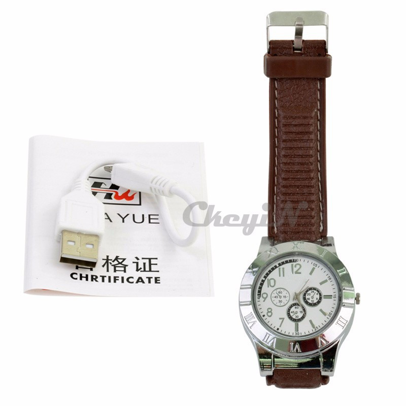 DHL Hot Military USB Charging sports Lighter Watch Men's Casual Quartz Wristwatches with Windproof Flameless Lighter F665