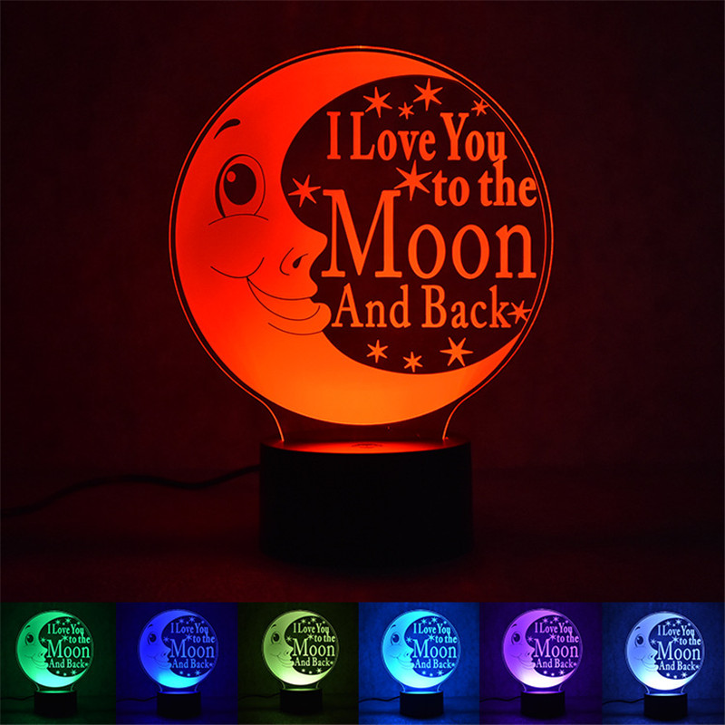 2018 New LOVE Moon 3D Nightlight Smart Home Table Lamp Energy Saving LED Lamp Simple Fashion Party atmosphere lights - drop ship ...