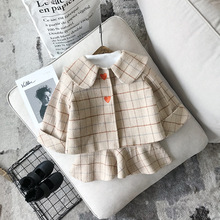 2018 New Autumn Item 2pcs Per Set Girl Fashion Plaid Suit With Heart Including Coat+Dress