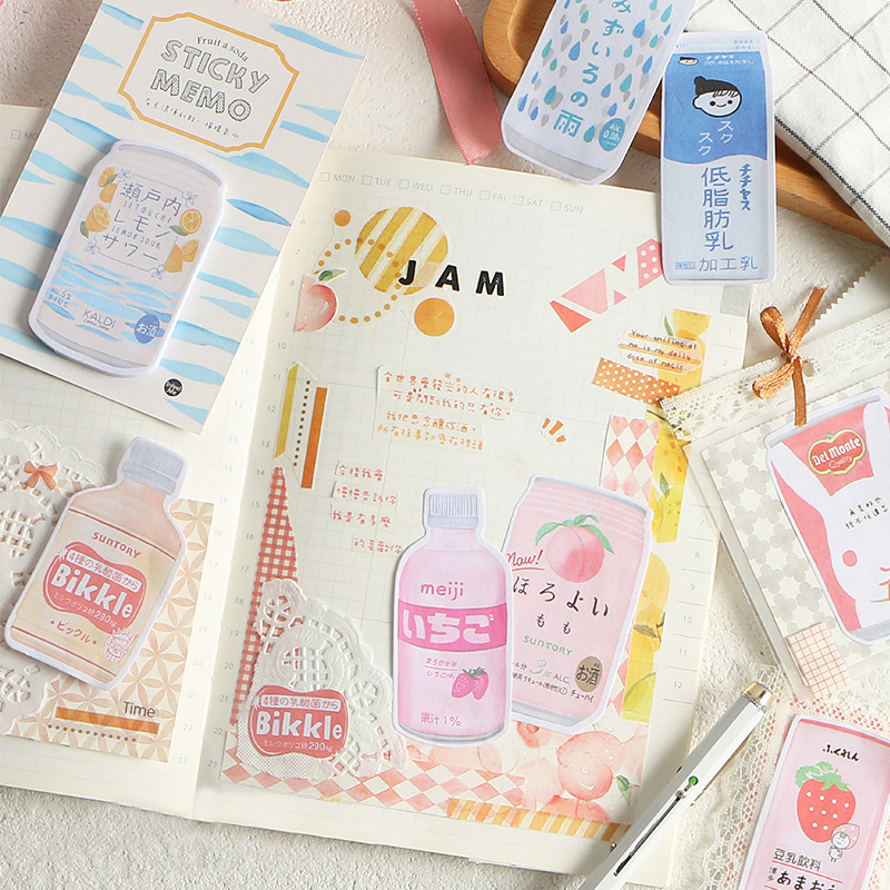 Little Bit Thirsty Series Kawaii Sticky Notes Creative Office Decor Memo Pad Shipping Supplies Decoration Japanese Stationery