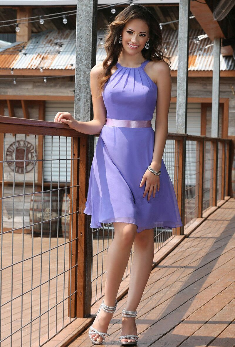 Popular purple bridesmaid dresses halter buy cheap purple latest pretty short purple halter bridesmaid dresses with belt sexy open back 2017 custom made summer ombrellifo Images