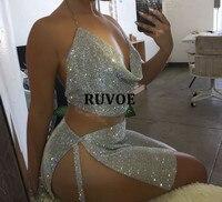 2017 Crystal Diamonds Party Birthday Outfits Sexy Backless Glitter Rhinestone Two Piece dress Set Club Wear Party Dress YY 50