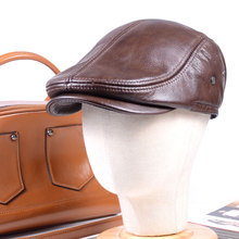 100% Real Leather Mens Winter Warm Earflaps Cowhide Miliitary Army Beret Golf Cap Newsboy Hat/cap