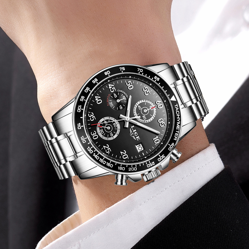 Top Brand Luxury Quartz Watch Men Fashion Stainless Steel Business Watch LIGE Waterproof Sport Clock Mens Watches Relogio Mascul wishdoit watch men top brand luxury watches simple business style fashion quartz wrist watch mens stainless steel watch relogio