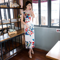 Summer New White Chinese Women Silk Long Dress Lady Vintage Casual Qipao Novelty Printed Cheongsam Size