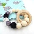 12 x wholesale black white and grey baby Wooden Teether Organic Teething Nursing Bracelet chew Toy Montessori baby teething gift