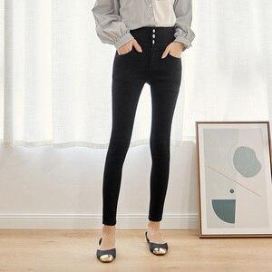 Image 5 - Leijijeans calça jeans feminina, cintura alta com botões, elástica, para outono, plus size, preta, 2020
