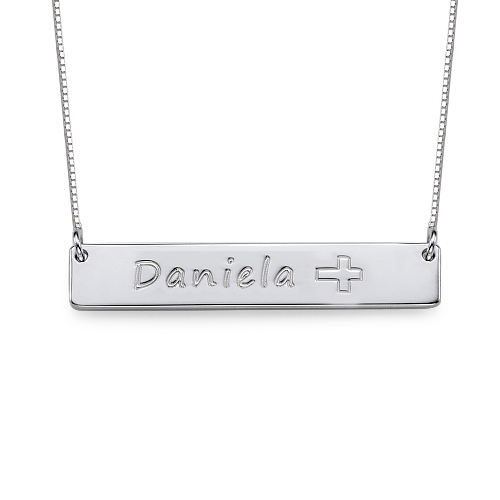 Wholesale Silver Bar font b Necklace b font Personalized Name Engraved Cross Tag Custom Nameplate font
