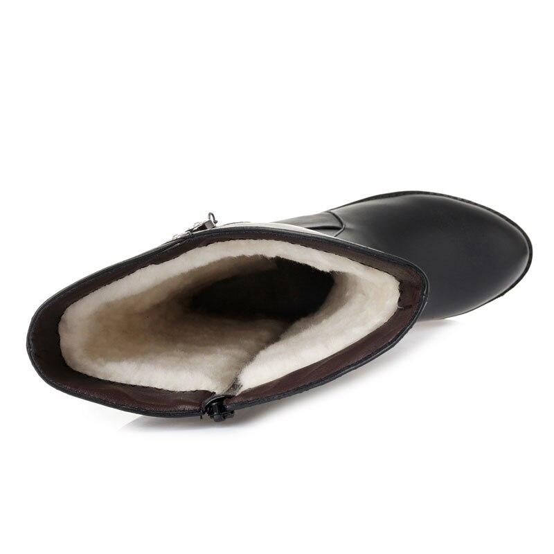 Winter Artificial Große Ferse Leder Strass Echtem Warme Größe 35 Hohe 43 Frauen Wolle Stiefel Wool Knie Plush natural Starke Zipper Drkanol Tpq0dT