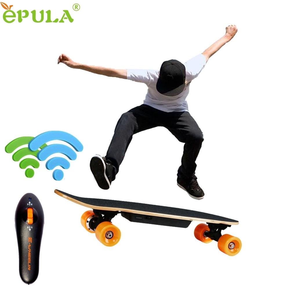 EPULA 7 Inch Remote Control Four Wheels Electric Skateboard Longboard Skate Board Top Quality Sep20 koston longboard skateboard scooter blackskate helmet