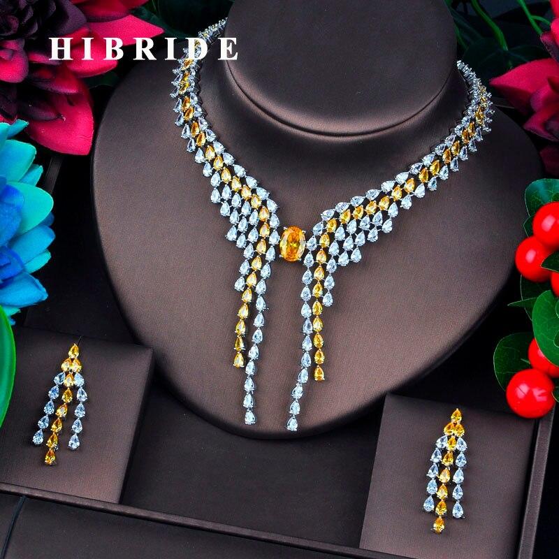 HIBRIDE Brilliant Water Drop Shape Cubic Zircon Bridal Jewelry Sets For Women Wedding Accessories Fashion Jewelry