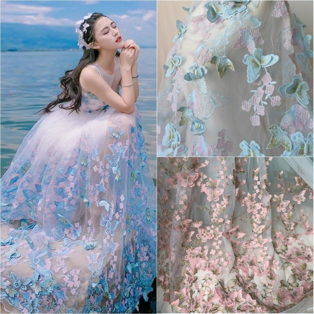 Elegant 3D Butterfly Lace Fabric In Pink And Gold Thread Embroidered ...