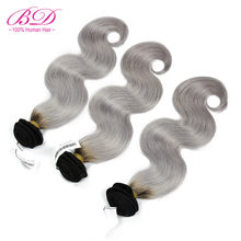 BD HAIR 1B/Grey Body Wave Human Hair Bundles 3pc/lot Dark Root Ombre Grey Hair Weave Peruvian Remy Hair Extensions Free Shipping(China)