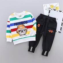 цены 2Pcs/set Kids Clothing Set Cartoon dog Design Boys Girls Baby Cloth Set Long Sleeve Hoodie Top Coat + Pant Suits
