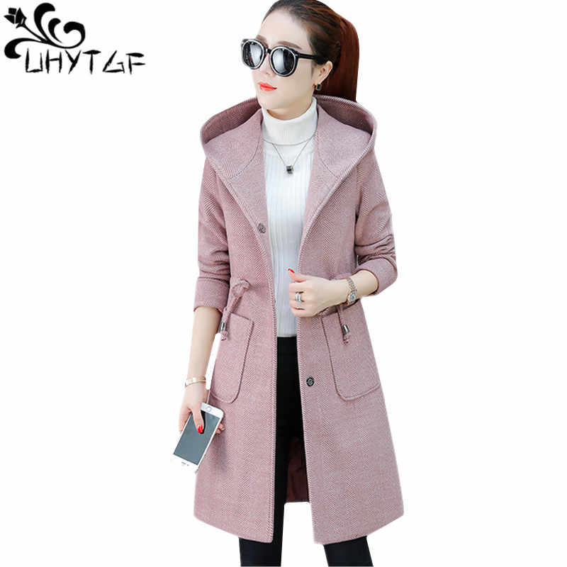 UHYTGF Casual Autumn Winter woolen coat Women Hooded belt slim Ladie long windbreaker jacket Wild elegant outerwear Plus size 93